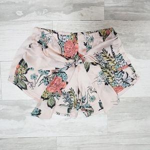 Silky Blush Pink Floral Wrap Shorts